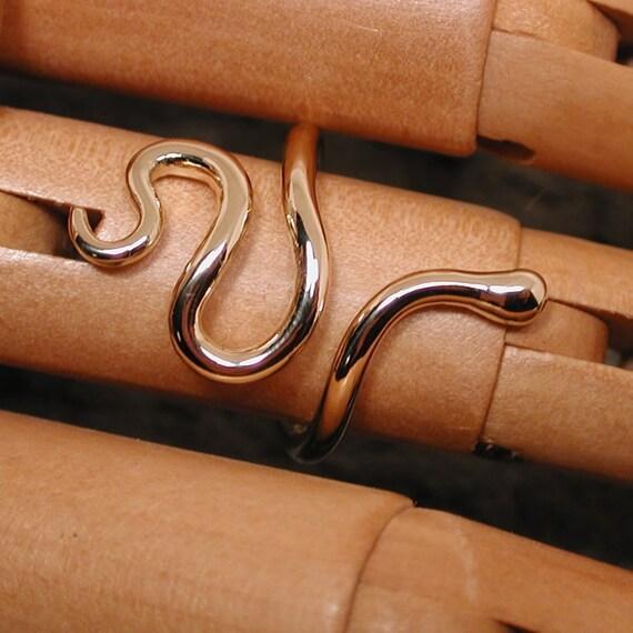 14k Yellow Solid Gold Snake Ring Modern Medusa Jewelry Minimal Design by SARANTOS