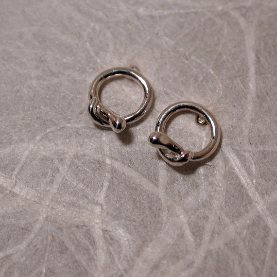 Tiny Snake Hoop Earrings Sterling Silver Circle Studs Serpents Modern Medusa Series by SARANTOS