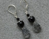 Midnight Ice earrings with rutilated quartz, onyx and silver