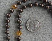 Dark Chocolate and Orange handknotted pearl necklace with Swarovski pearls, Swarovski crystals and sterling silver