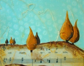 Clouds Upon the Hills-Original Mixed Media Painting