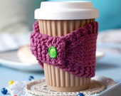 Knitted Coffee Cozy with Vintage Button
