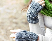 Fingerless Mitts Knitted in Pure Wool. Mens and Womens Sizes.