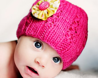 Girl's Knitted Hat with Vintage Button by Sheeps Clothing
