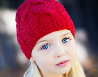 Child's Cable Knit Beanie / Hat in Red by Sheeps Clothing