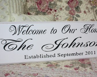 The Custom Family WELCOME to our HOME sign Est.  Personalized Perfect for Wedding or Anniversary or Christmas GIFT