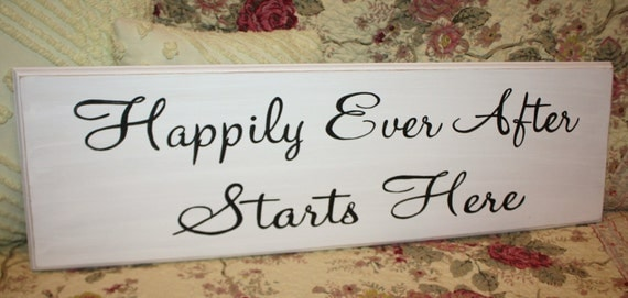 Happily Ever After Starts Here YOUR COLOR CHOICE Hand Painted Wedding Sign Decoration Two Sides