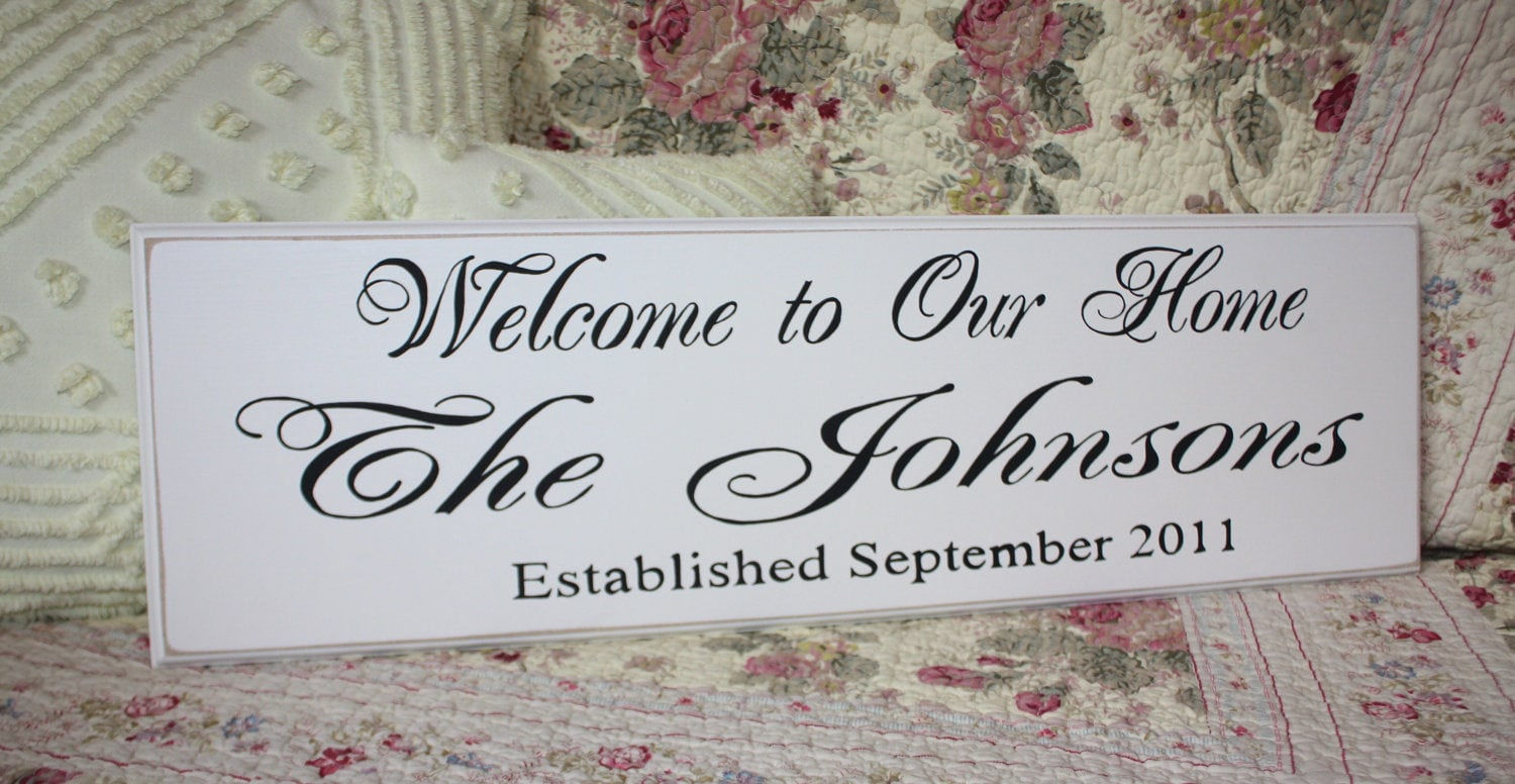 the custom family welcome to our home sign est personalized