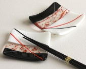 Fused Glass Square Red and Black Sushi Set - GetGlassy