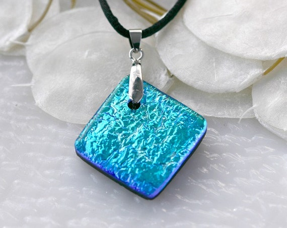 Ocean Blue Dichoric Glass Pendant - Fused Glass Jewelry, Fused Glass Necklace, Glass Pendant, Dicronic Fused, - 00820D020311