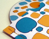 Blank CD and envelope with yellow and turquoise speechbubble pattern