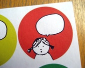 Label Sticker Set - Girl with speechbubble