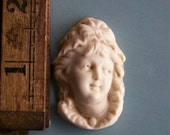 Large Antique Bisque Girls Head - Frilled Cap