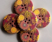 5 Giant Floral Print Buttons