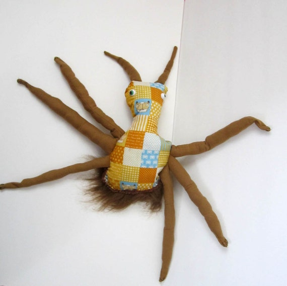 One Of A Kind Plush Monster Doll Jimmy the Bug Made With Upcycled Vintage Fabric