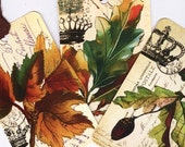 Fall Gift Tags  , Fall Leaves and Crowns , Vintage Style Gift Tags   ,  Thanksgiving , Fall Place Cards ,  Autumnal Theme