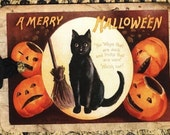 Halloween Favors - Vintage Halloween - Black Cat Tags - Vintage Black Cat and Pumpkins
