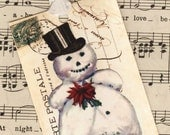 Christmas Gift Tags , Gift Cards , Vintage Snowman , Top Hat