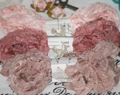 Seam Binding  -  18 YARDS-  pinks -  rosy beige -  salmon -  Beauty - Crinkled - Shabby Ribbon