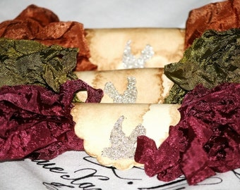 Crinkled Seam Binding , 18 Yds ,  Autumnal Glory ,  Olive , Rust , Cranberry , Wine , Vintage Style Ribbon