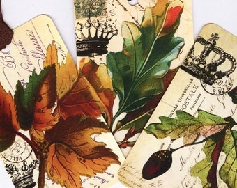 Vintage Fall Leaf Gift Tags Autumn Leaves and Crowns Vintage Style Thanksgiving Place Cards Fall Hang Tags Autumn