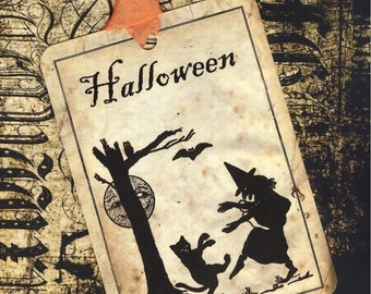Vintage Halloween Witch and Cat tags Black and Orange