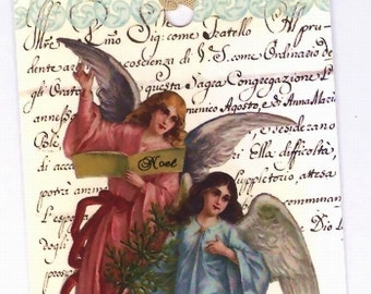 Vintage Christmas Gift Tags , Angels Tags ,  Pink and Blue Christmas Angels , Vintage Angels , Religious Tags ,