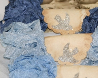 Seam Binding Crinkled  Ribbon ,18 YARDS   Blues ,  Shabby Ribbon ,  Crinkled Ribbon , Rainy Day in Paris
