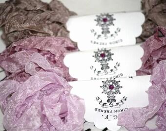 Seam Binding , 18 Yards , Mauve Ribbon ,  Lavender Ribbon ,  light brown ,  DUSTY SILKS ,   ,Vintage Style Ribbon , Crinkled