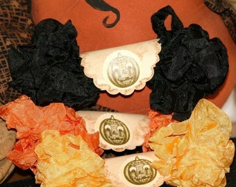 Seam Binding Ribbon 18 Yds Crinkled Vintage Halloween Orange Yellow Black