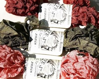 Crinkled Seam Binding , 18 yards , AUTUMN EVENING , Olive Green Ribbon , Dark Rose Ribbon ,  Wrinkled Ribbon ,  Card Making Ribbon