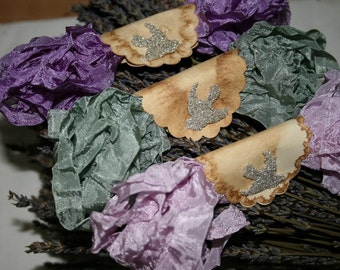 Crinkled Seam Binding Ribbon - 18 YARDS -  LAVENDER of PROVENCE - Purple Ribbon - Sage Green Ribbon , Violet Ribbon , Shabby Ribbon