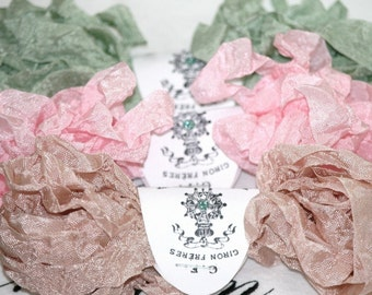 Seam Binding -  Crinkled  - 18 Yds. -  ROSE and OLD LACE  - Pink Ribbon - Sage Green Ribbon -  Beige - Shabby Ribbon - Vintage Style Ribbon