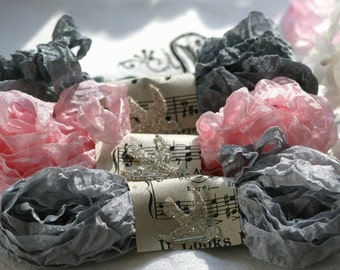 Seam Binding -  18 YARDS  -  Pink Vintage Style Ribbon -  Grey Scrunched Seam Binding -  Gray  -  ELEGANCE - Crinkle Rayon Seam Binding