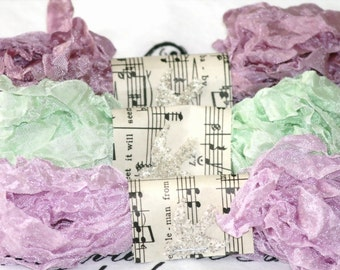 Seam Binding -  Crinkled  - PHLOX in BLOOM  - purples -  green - 18 yards - Vintage Style Ribbon , Shabby Ribbon , Rayon