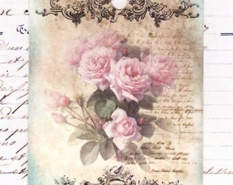 Gift Tags  - Romantic  - Faded Roses -  French Style - Roses - Pink