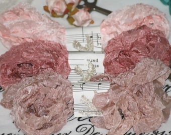 Seam Binding  - Ribbon  - Bias Tape - 18 yds -  pinks  - rosy beige  - salmon  -  FRENCH BEAUTY  - Crinkled Ribbon , Shabby Vintage Style