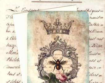 Blank Note Cards , French Bee and Crown , Bee Note Cards by Bluebird Lane