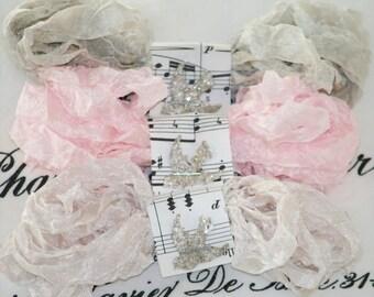 Seam Binding - Crinkled - 18 yards -  ALMOST HEAVEN -  Beige -  Griege - Blush Pink - Wedding Ribbon - Bias Tape - Shabby Ribbon