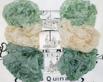 Crinkled Seam Binding , 18 YARDS ,  PASTORAL , Ribbon , Sage Greens  , Light Beige , Shabby Ribbon