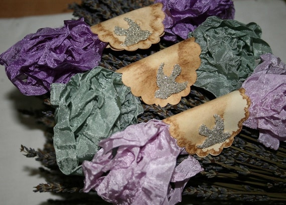 Seam Binding Hand Crinkled 18 YARDS Lavender of Provence Purples Green Violet