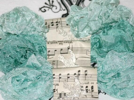 Seam Binding - Crinkled  - Vintage Style Ribbon ,  18 Yards , SERENE WATERS - Aqua Seam Binding  - Blues - Turquoise  Seam Binding
