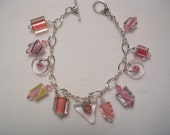 Pink Panther -- Furnace glass and crystal charm braclet