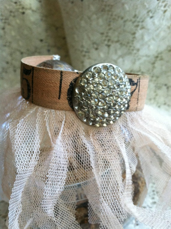 A Tutu for Your Wrist - Vintage Measuring Tape Bracelet with Tulle Fringe and Large Rhinestone Button Center