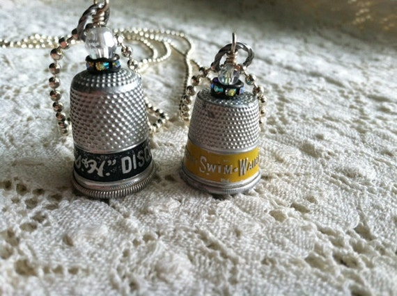 Vintage S and H Discount Stamps - Advertising Thimble Necklace on Silver Ball Chain