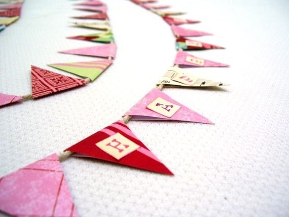 Happy Birthday BANNER Pennant BUNTING Flags PINK Green