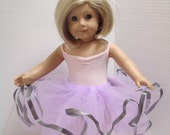 Elegant Lilac Tulle and Silver Trimmed Doll or Stuffed Animal Tutu