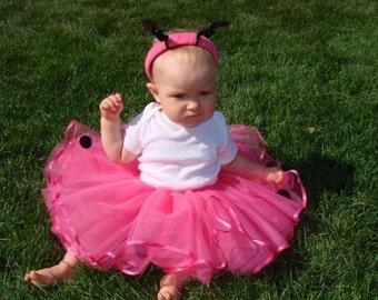 LadyBug Tutu in Pink with Bouncy Antennae Headband, Girls, Custom Made to Size