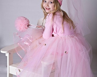 Pink Princess Costume Tutu Gift Set with Hat and Wand