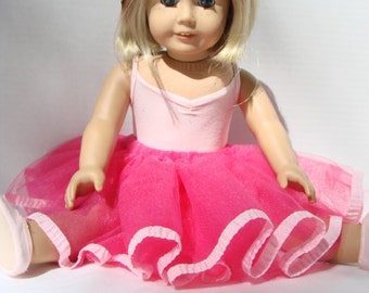 Doll Tutu, Pink Doll Costume Dress Up Raspberry Pink Doll or Stuffed Animal Tutu with Ribbon Trim